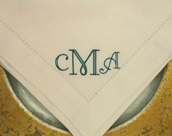 4 Monogrammed Cotton Hemstitched Napkins in the Dapper Font