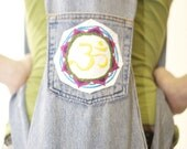 Aum Embroidered Yoga Mat Bag with Backpack Straps from Recycled Denim Jeans