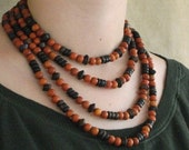 Tribal Style Bohemian Boho Chic African Wooden Bead Necklace Extra Long Exotic Wood Wrap Necklace