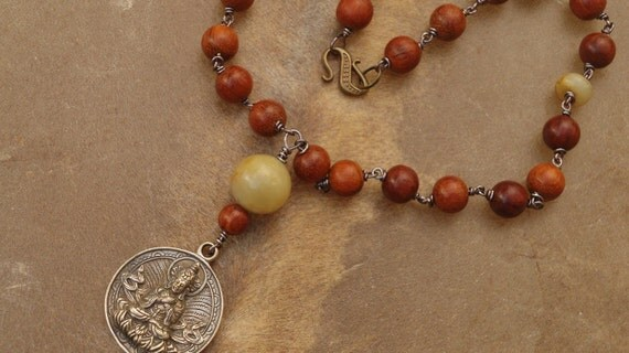 RESERVED FOR ESTER  Pocket Mala/Prayer Beads with Brass Buddha Amulet