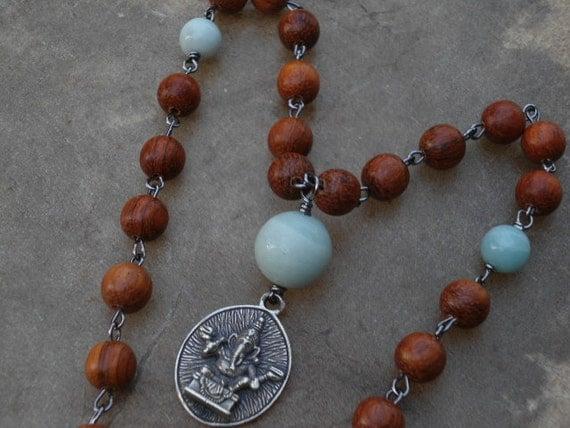 Ganesha Rosary Wrapped Prayer Bead Japa Mala with Large Amazonite and Bayong Wood Beads