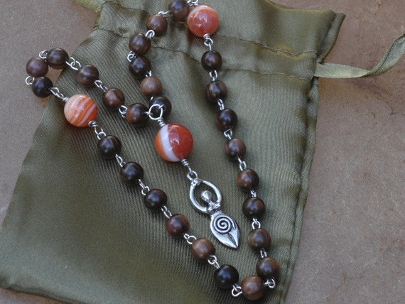 Goddess Prayer Beads Rosary Wrapped Mala Beads with Sardonyx and Kamagong beads