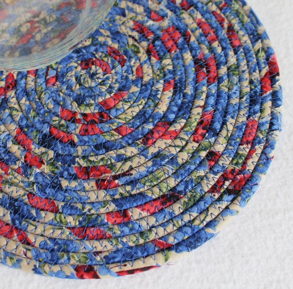 Blueberry Delight Round Coiled Mat by PrairieThreads