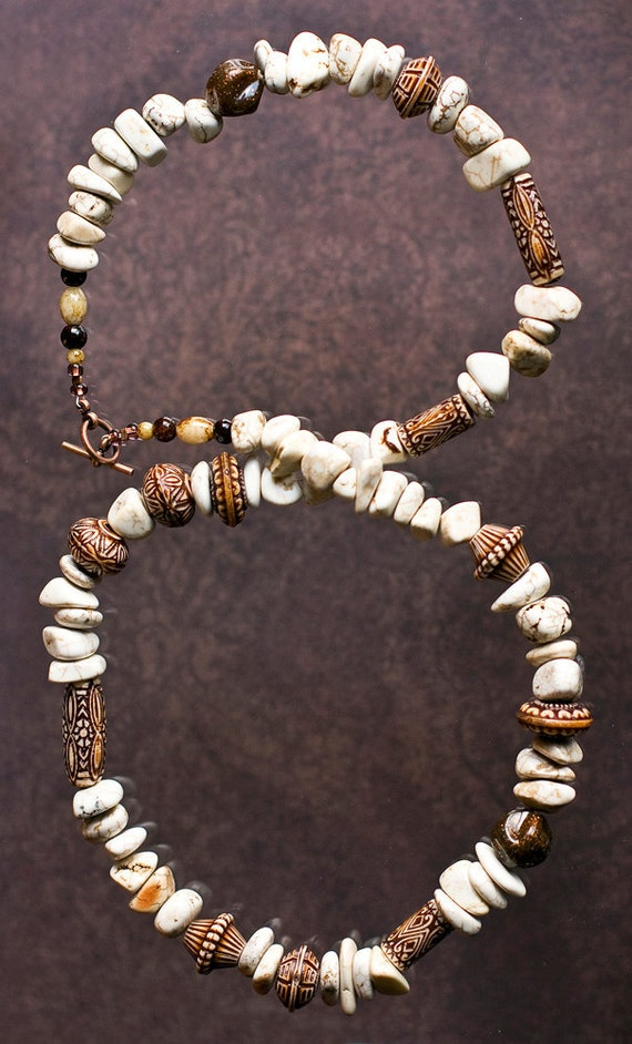 Quiet Moments Howlite Necklace - Beaded with Howlite and Resin Beads in Different Shapes