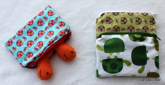 Reusable Snack Sandwich Bag ZIPPER TOP ---- Ripstop Nylon BPA Free - Set Of 3 Turtles and Tractors