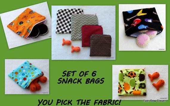 Reusable Snack Bag, Reusable Sandwich Bag, BPA Free, Zippered Snack Bag, Toddler Snack Bags, Back To School, Custom Snack Bags