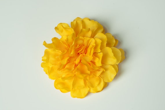6 Yellow Flower Hair Clips