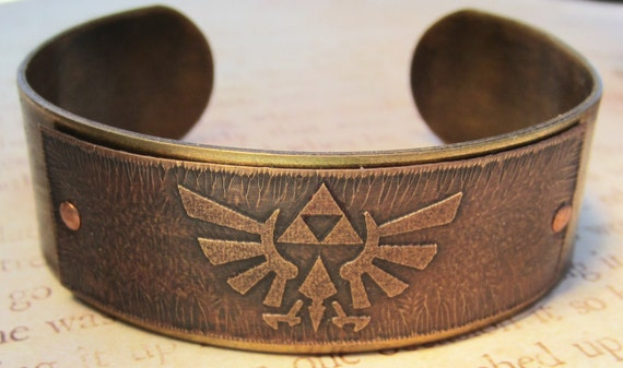 Zelda Triforce Vintage Style Brass Bracelet Cuff Adjustable Made to Order