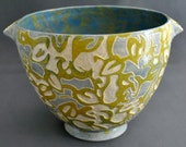 Shade Patterns - OOAK, hand made, sgraffito, stoneware, ceramic bowl, pottery bowl, hand carved, yellow, blue, home decor, for her, for him