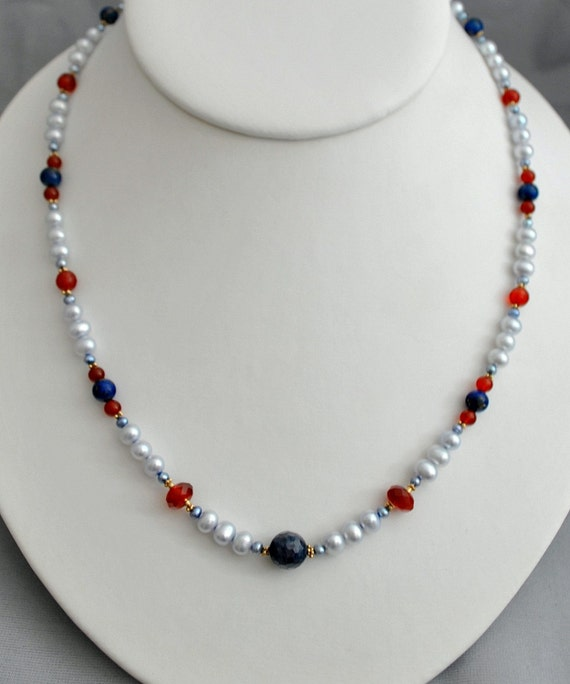 Hold for Lea - Diedra - pearl necklace, hand knotted, pearl, blue sapphire, carnelian, lapis lazuli, gold, necklaces, freshwater pearls