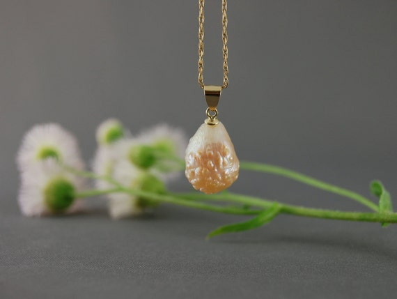 Hold for Sonya- Rayna- the large Rosebud natural fresh dawn color teardrop pearl pendant set in solid 14kt yellow gold - not plated
