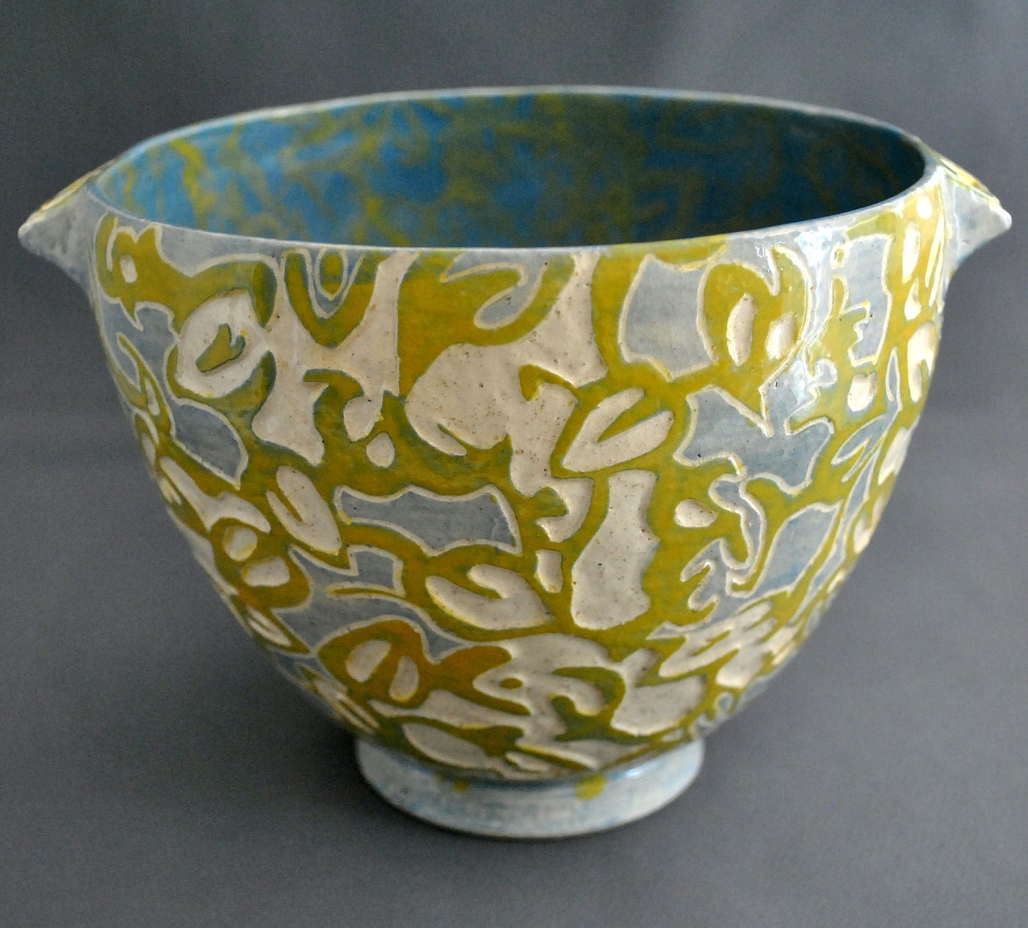 Shade patterns ooak hand made sgraffito stoneware by