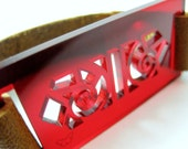 Custom listing for Johannes Larsen - french lace bracelet - red plexiglass jewelry - camel strap