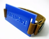 SALE blue acrylic bracelet - exclusive identity - brown leather strap