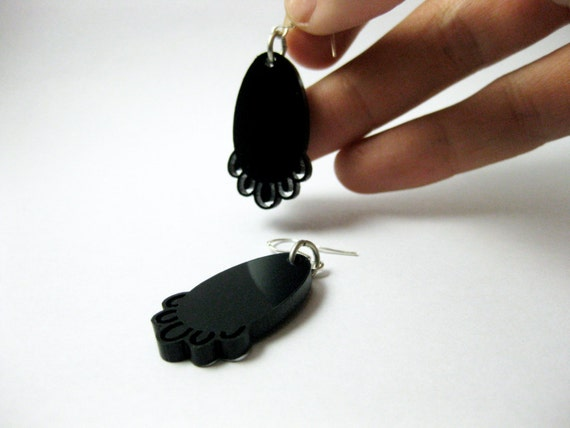 Small long lace earrings - black contemporary jewellery - laser cut acrylic