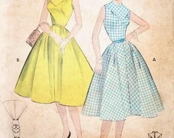 Butterick Vintage Pattern 7281 - 1950s Rockabilly Day Dress Full Swing Skirt - Bust 32