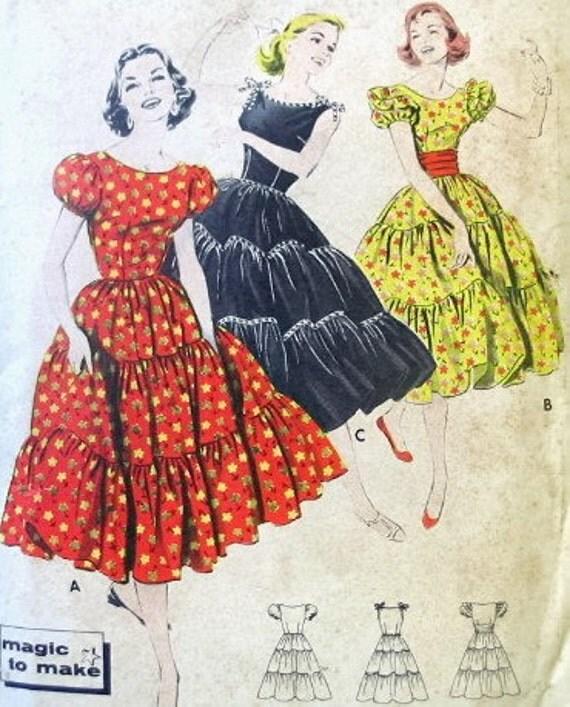 Butterick Vintage Pattern 8367 - 1950s Rockabilly Fiesta Patio Dress - Bust 32