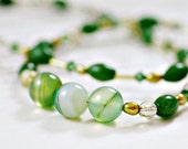 Necklace: Emerald Green Agate, Green Jade, Olive Green Freshwater Pearl and Golden Rutilated Quartz
