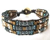 Bohemian Dust - Charcoal Tapestry - Cuff Bracelet - Beaded Leather Wrap Bracelet