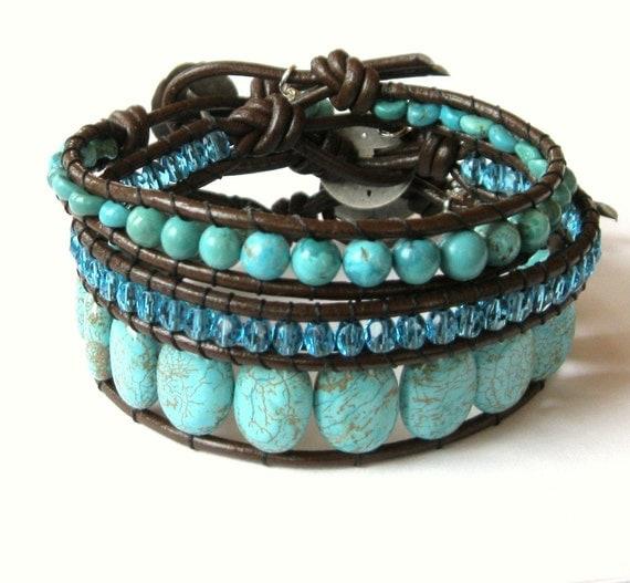 Mediterranean - Single Wrap Turquoise Magnesite on Leather.