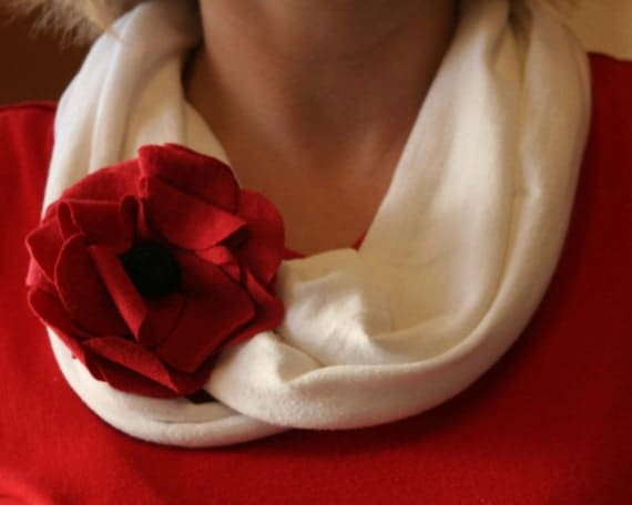 Upcycled infinity cotton scarf, flower pin, and headband -  3 pieces included