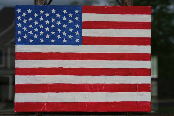 Hand painted distressed American flag door sign on canvas