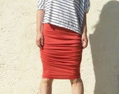 Shirred Jersey Skirt- Burnt Orange