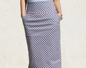 High Waist Pencil Skirt-Repeated purple and pink pattern