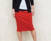 Everyday Pencil Skirt-Red