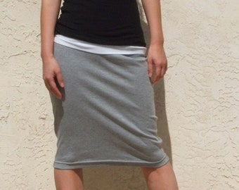 Gray Everyday Pencil Skirt, Jersey Pencil Skirt, Pull On Skirt, Casual Skirt, Straight Skirt, Knee Length Skirt / Handmade -Heather  Gray