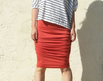 Shirred Jersey Skirt , Ruched Skirt, Pencil Skirt, Ruching Skirt, Orange Skirt, Pull On Skirt, Coral Skirt - Burnt Orange