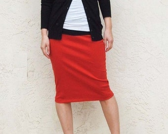 Red Everyday Pencil Skirt, Red Skirt, Jersey Skirt, Office Skirt, Casual Skirt, Pull On Skirt, Knee Length Skirt / Best Seller - Red