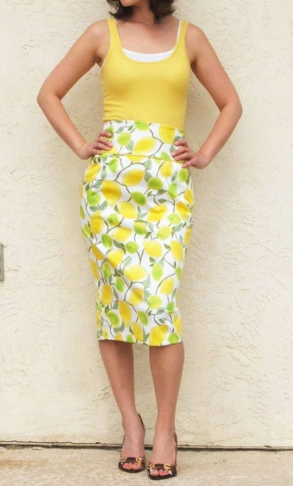 Reserved for Lillyclips / Lemon and Lime - High Waist Pencil Skirt