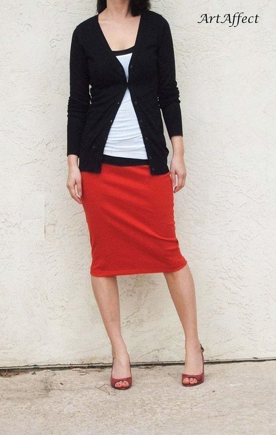 Red Everyday Pencil Skirt, Red Skirt, Jersey Skirt, Office Skirt, Casual Skirt, Pull On Skirt, Knee Length Skirt / Best Seller - Red