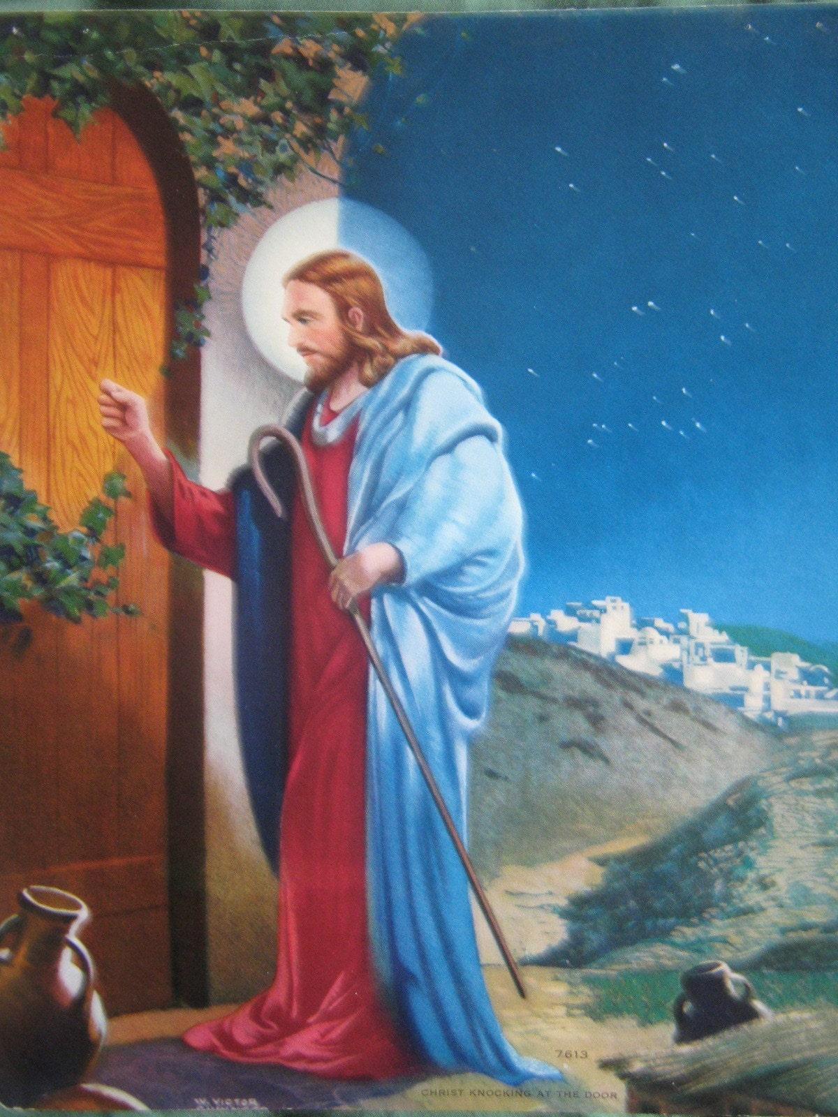 Vintage 1950 S Jesus Christ Knocking At The Door Print