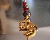 Dragon Fan Pull Beaded Lamp Pull Red Brass