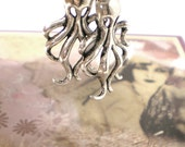 40% OFF - Silver OCTOPUS Hoop Earrings with Star Beads Charms, Pierced