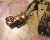 Twisted Mind - Handcrafted Wire Wrapped Beaded Pendant for Necklace in Copper Brass Colors