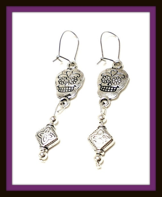 RESERVED FOR TINA - Black Friday Cyber Monday Silver Skull Day of the Dead Dia de los Muertos Charm Pierced Earrings Handmade