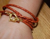 Cognac Leather Braided Wrap Cord Bracelet with Gold Clasp, Leather Bracelet, Leather Wrap Bracelet