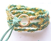 Leaf Green, Soft Suede Leather Wrap Bracelet, Gold Chain, Gold Wire Wrap, Cuff, Anklet, Necklace Fits all wrist sizes, Bridemaids Gift