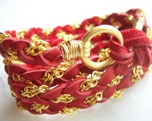 Ruby Red Deerskin Leather Wrap Bracelet, Gold Chain, Cuff, Anklet, Hair, Pony tail, Valentine's gift, Wire Wrap
