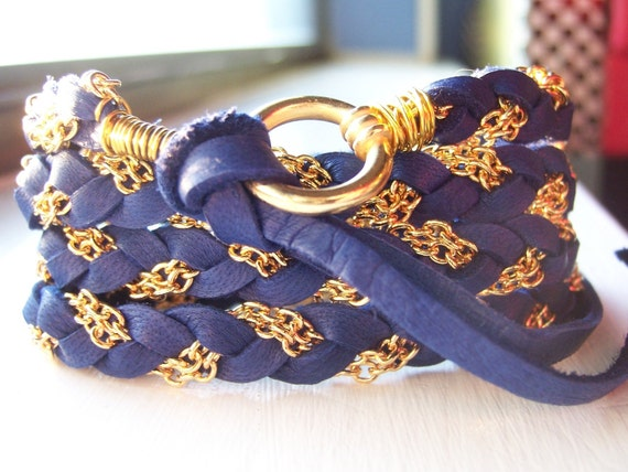 Rich Deep Sapphire, Colbot Blue Deerskin on one side Suede on the other Leather Wrap Bracelet, Light Navy Blue, Gold Chain, Cuff, Anklet, Fits all wrist sizes, Braided, Wire Wrapped, Original