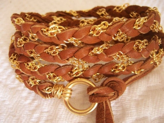 Cognac Leather, Saddle Tan Deerskin Wire Wrap Bracelet, Gold Chain, Cuff, Anklet,  Fits all wrist sizes, Braided