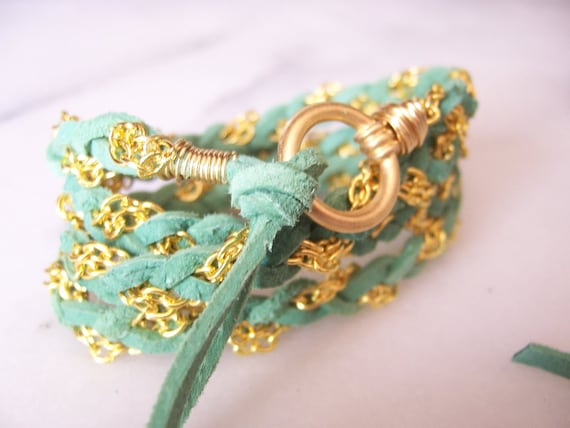 Leaf Green, Soft Suede Leather Wrap Bracelet, Gold Chain, Gold Wire Wrap, Cuff, Anklet, Leather Cord Bracelet