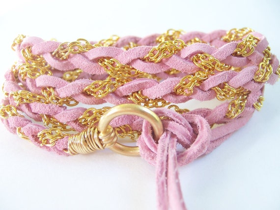Pretty in Pink, Blush, Soft Suede Leather Wrap Bracelet, Wire Wrapped, Non Tarnish, Gold, Anklet, Lariat