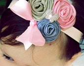 Boutique Satin Rose Trio Hair Headband with Stunning Rhinestones Vintage Chic Photography Prop- LAST ONES