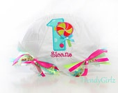 First Birthday Candy Shoppe Lollipop Ribbon Bloomers Custom Fancy Diaper Covers Photo Prop Design Your Own and Personalize it