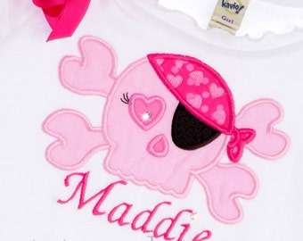Custom Boutique Pink Skull Princess Pirate Birthday Shirt Design Your Own