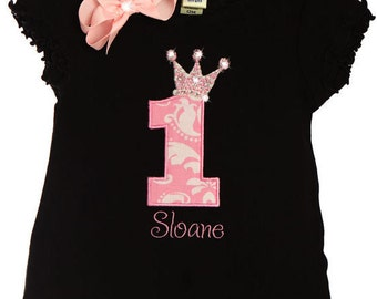 Custom TrendyGirlz Exclusive Fancy Rhinestone 1st Birthday Letter Number Princess Crown Dress
